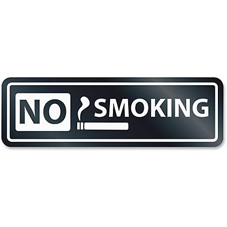 "HeadLine No Smoking Window Sign - 1 Each - No Smoking Print/Message - 8.5"" Width x 2.5"" Height - Rectangular Shape - Self-adhesive, Removable - White, Clear"