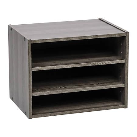 "IRIS TACHI 12""H Modular Organizer Box With Adjustable Shelves, Gray"