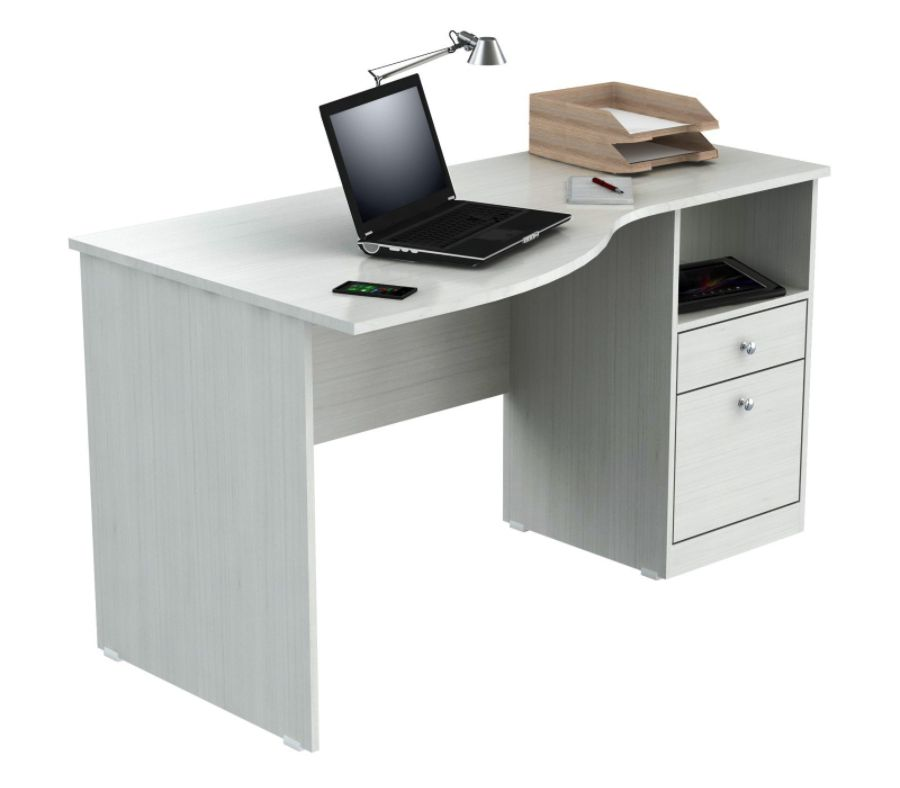 Inval Laura Curved Top Computer Desk Laricina White by Office