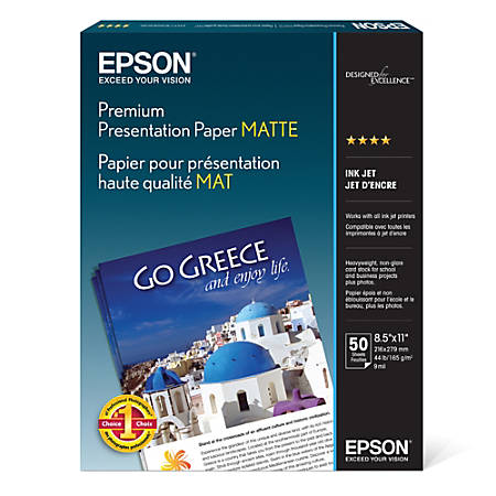 "Epson® Premium Presentation Paper, 8 1/2"" x 11"", 44 Lb, 50 Sheets Per Pack, Case Of 5 Reams"