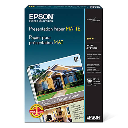 "Epson® Presentation Paper, Matte, 13"" x 19"", 27 Lb, Pack Of 100 Sheets"