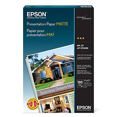 Epson Presentation Paper Matte 11 X 17 27 Lb Pack Of 100 Sheets By
