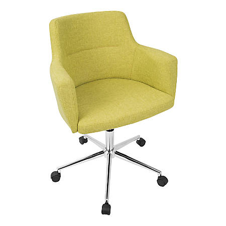 LumiSource Andrew Contemporary Adjustable Fabric Office Chair, Citrus Green/Chrome