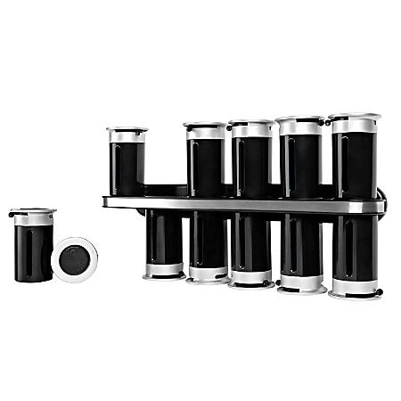 """Honey-Can-Do Zero Gravity™ Wall-Mount Magnetic Spice Rack, 12 Canisters, 7 1/2""""H x 14 1/4""""W x 3""""D, Black/Silver"""