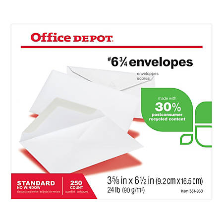 """Office Depot® Brand All-Purpose Envelopes, #6 3/4 (3 5/8"""" x 6 1/2""""), 30% Recycled, White, Pack Of 250"""