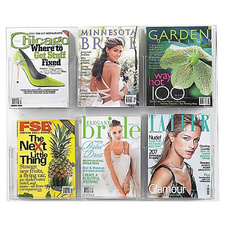 Safco® Clear2C Magazine Display, 6 Pockets