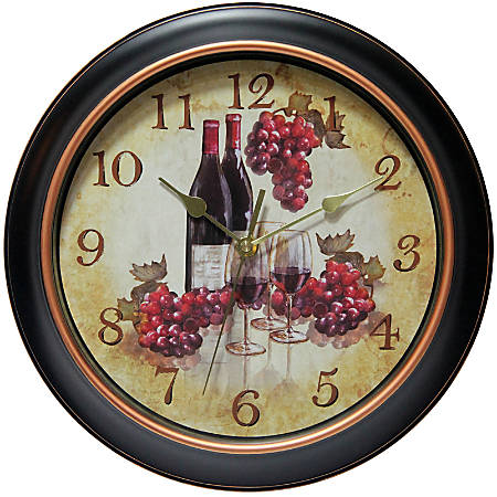 "Infinity Instruments Valencia 12"" Round Wall Clock, Black/Rose Gold"