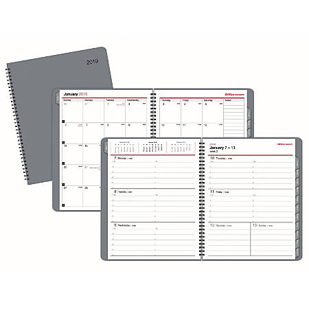 "Office Depot® Brand Weekly/Monthly Planner, 8 1/2"" x 11"", Silver, January To December 2019"