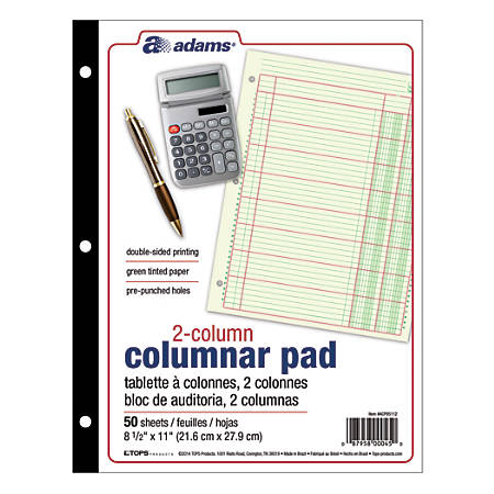 "Adams® Analysis Pad, 8 1/2"" x 11"", 100 Pages (50 Sheets), 2 Columns, Green"