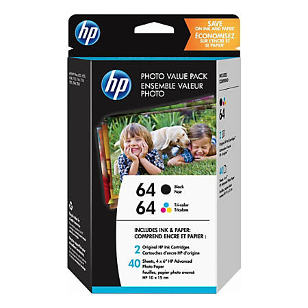 Hp 64 Black And Tri Color Original Ink With Photo Paper 2 Pack
