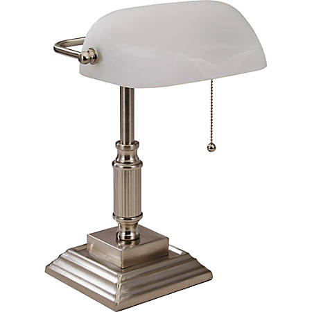 Lorell® LED Classic Banker's Lamp, Frosted Glass Shade, Brushed Nickel