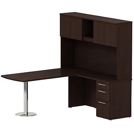 "Bush Business Furniture 300 Series L Shaped Peninsula Desk With Hutch And 3 Drawer Pedestal, 72""W x 30""D, Mocha Cherry, Premium Installation"