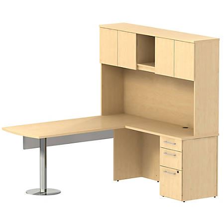 "Bush Business Furniture 300 Series L Shaped Peninsula Desk And 60""W Glass Modesty Panel With Hutch And 3 Drawer Pedestal, Natural Maple, Standard Delivery"