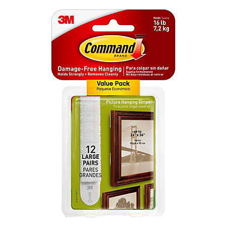 Command™ Damage-Free Picture-Hanging Strips, Large, White, Pack Of 12