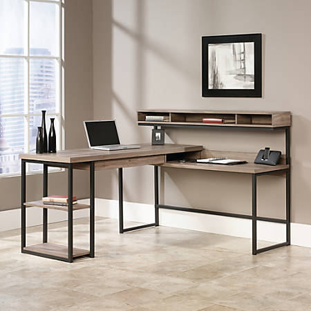 Phenomenal Sauder Transit Multi Tiered L Shaped Desk Salted Oak Item 382889 Home Interior And Landscaping Ponolsignezvosmurscom