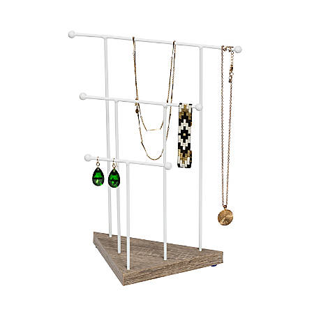 """Honey Can Do 3-Tier Metal Wire Jewelry Stand, 13"""" x 5"""", White"""