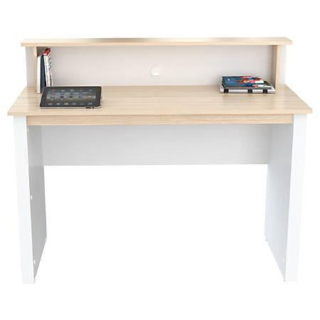 Inval Writing Desk, Laricina White/Beech