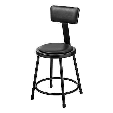 "National Public Seating 6400B-10 Stationary Stools With Backrests, 18""H, Black, Set Of 5 Stools"