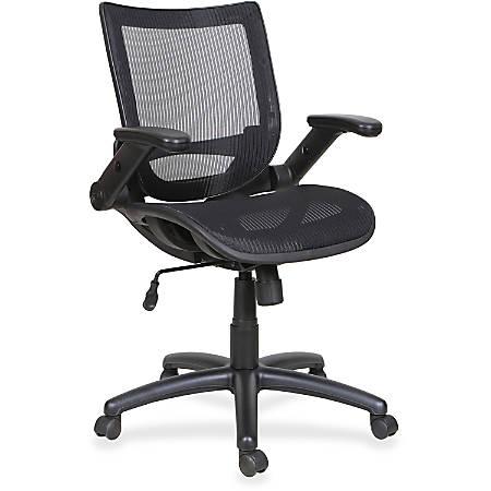 Lorell® Flipper Arm Mid-Back Mesh Task Chair, Black