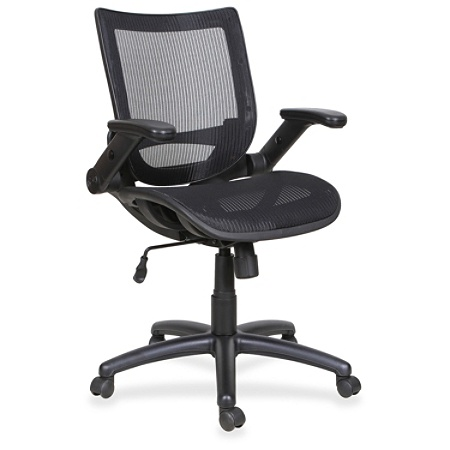 lorell flipper arm mid back mesh task chair black by office depot