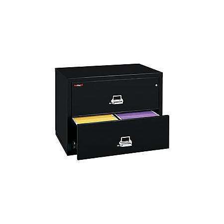 "FireKing® UL 1-Hour Lateral File, 2 Drawers, 27 3/4""H x 31 1/8""W x 22 1/8""D, Black, White Glove Delivery"