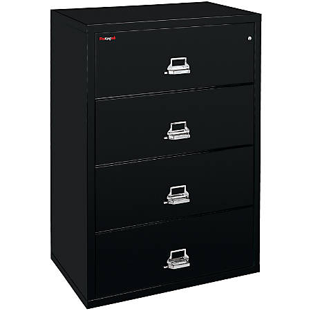 "FireKing® UL 1-Hour Lateral File, 4 Drawers, 52 3/4""H x 44 1/2""W x 22 1/8""D, Black, White Glove Delivery"