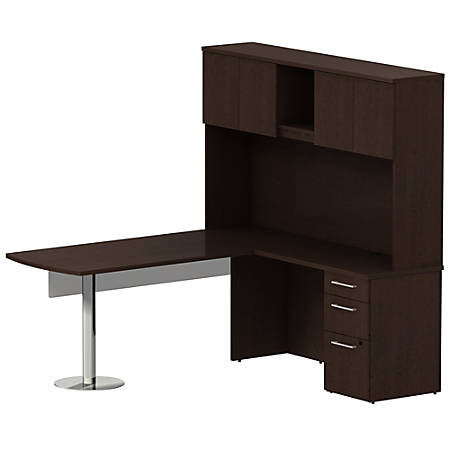 """Bush Business Furniture 300 Series L Shaped Peninsula Desk And 60""""W Glass Modesty Panel With Hutch And 3 Drawer Pedestal, Mocha Cherry, Standard Delivery"""