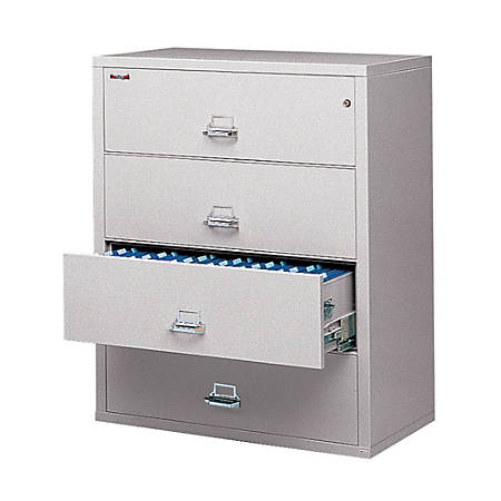 """FireKing® UL 1-Hour Lateral File, 4 Drawers, 52 3/4""""H x 44 1/2""""W x 22 1/8""""D, Platinum, White Glove Delivery"""