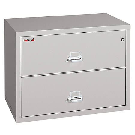 """FireKing® UL 1-Hour Lateral File, 2 Drawers, 27 3/4""""H x 31 1/8""""W x 22 1/8""""D, Platinum, White Glove Delivery"""