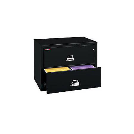 """FireKing® UL 1-Hour Lateral File, 2 Drawers, 27 3/4""""H x 37 1/2""""W x 22 1/8""""D, Black, White Glove Delivery"""