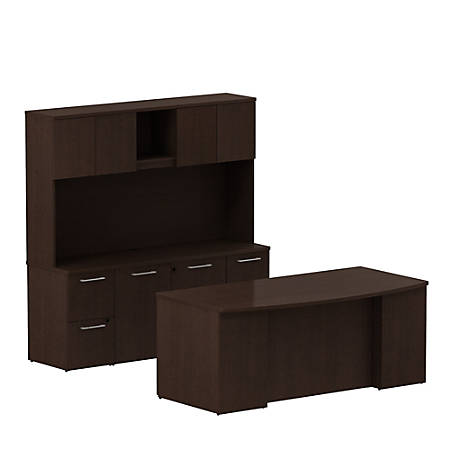 "Bush Business Furniture 300 Series 72""W x 36""D Bow Front Office Desk With Storage Credenza And Hutch, Mocha Cherry, Premium Installation"