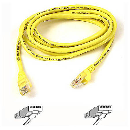 Belkin Cat6 UTP Patch Cable - RJ-45 Male - RJ-45 Male - 25ft - Yellow