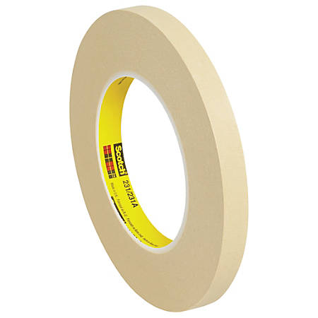 "3M™ 231 Masking Tape, 3"" Core, 0.5"" x 180', Tan, Case Of 12"