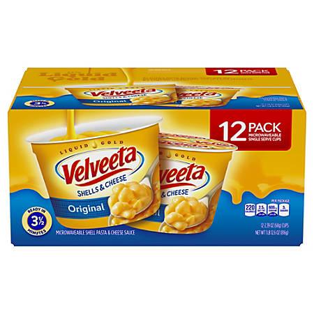 Velveeta Shells & Cheese Original Microwaveable Single-Serve Cups, 2.39 Oz, Box Of 12 Cups