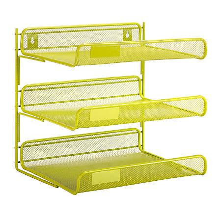 "Honey-Can-Do 3-Tier Steel Mesh Desk Organizer, 12 1/2""H x 10 3/4""W x 13 1/4""D, Lime"