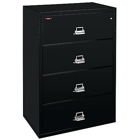 "FireKing UL 1-Hour File, Lateral, 4 Drawers, 52-3/4""H x 37-1/2""W x 22-1/8""D, Black, White Glove Delivery"