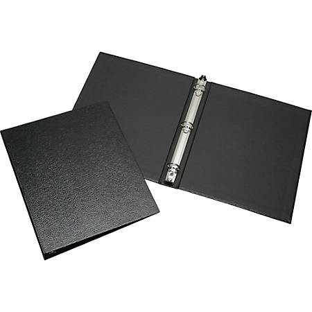 """SKILCRAFT® Leather Grain Ring Binder, 1"""" Rings, 82% Recycled, Black"""