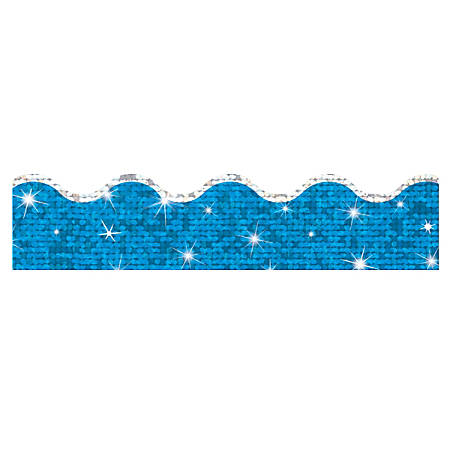 "TREND Terrific Trimmer® Borders, 2 1/4"" x 39"", Super Sparkle Blue, Pre-K - Grade 12, Pack Of 10"