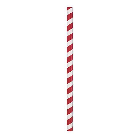 """Hoffmaster Paper Straws, 8-1/2"""", Red/White, Pack Of 1,500 Straws"""