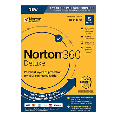 Norton 360™ Deluxe, For 5 Devices, 1-Year Subscription, Product Key Card