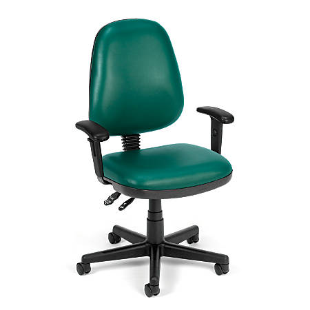 OFM Straton Series Vinyl Mid-Back Task Chair, Teal/Black