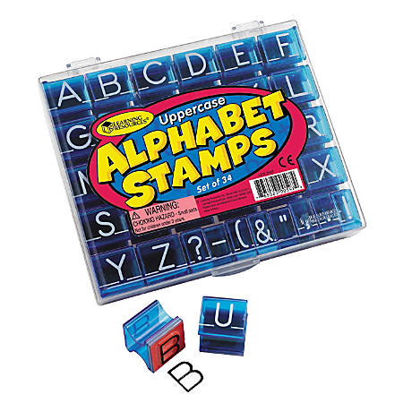 "Learning Resources® Uppercase Alphabet Stamps, 1"" x 1"", 34 Stamps Per Set, Pack Of 2 Sets"