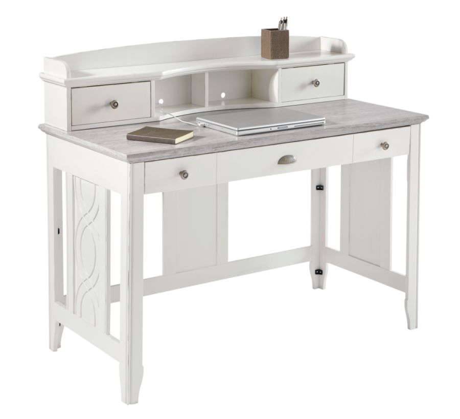 See Jane Work Charlotte Faux Marble Desk With Hutch 39 H X 47 14 W 23 12 D White By Office Depot Officemax
