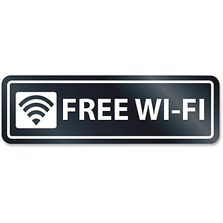 HeadLine Free Wi-Fi Window Sign - 1 Each - Free Wi-Fi Print/Message - Rectangular Shape - Self-adhesive, Removable - White, Clear
