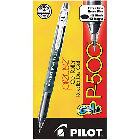 Pilot® Gel Ink Rollerball Pens, P-500, Extra-Fine Point, 0.5 mm, Black Barrel, Black Ink, Pack Of 12 Pens