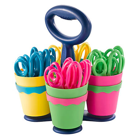 """Westcott® Kids Anti-Microbial Product Protection Scissors With Caddy, 5"""", Blunt, Multicolor, Pack Of 24"""