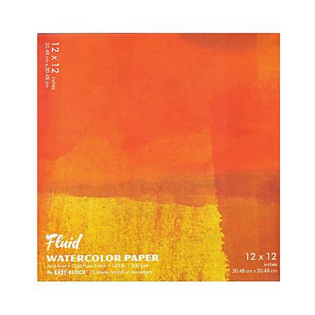 "Global Art Fluid Watercolor Block, 12"" x 12"", White"