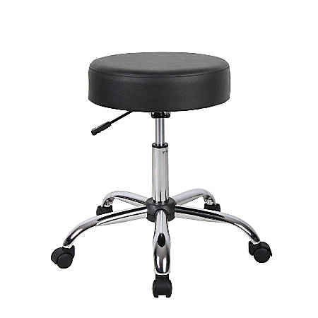 Boss Medical Stool With Antimicrobial Vinyl, Black/Chrome