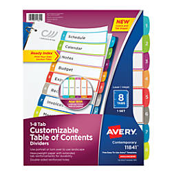 Avery Preprinted Tab Dividers 8 12