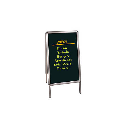 "MasterVision™ Black Wet-Erase Display Board, 32"" x 21"", Silver Aluminum Frame"